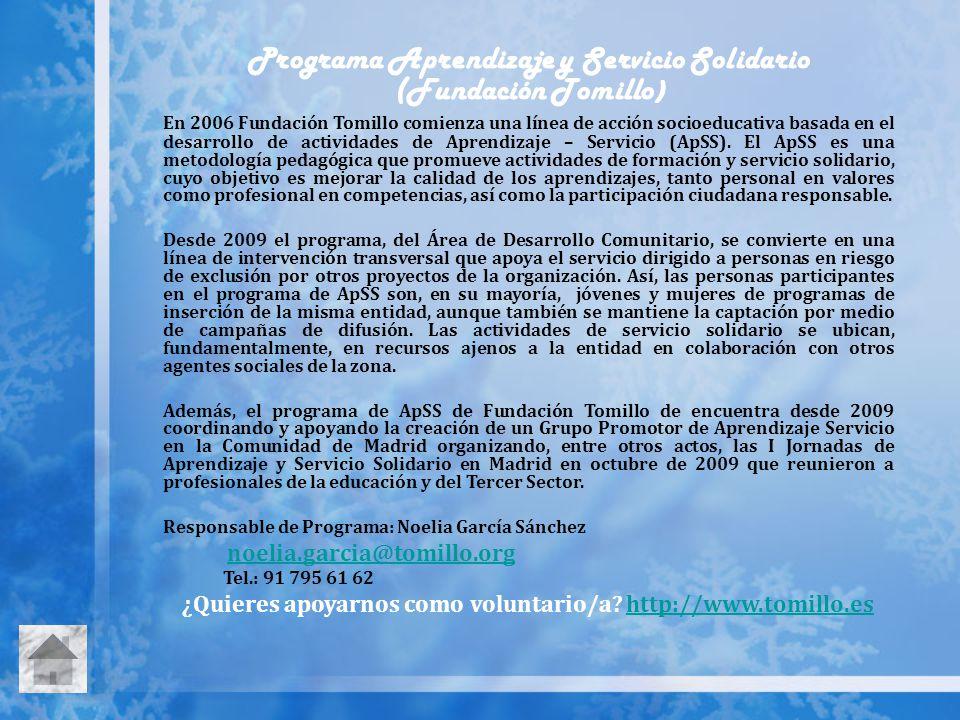 Programa Aprendizaje y Servicio Solidario (Fundación Tomillo)