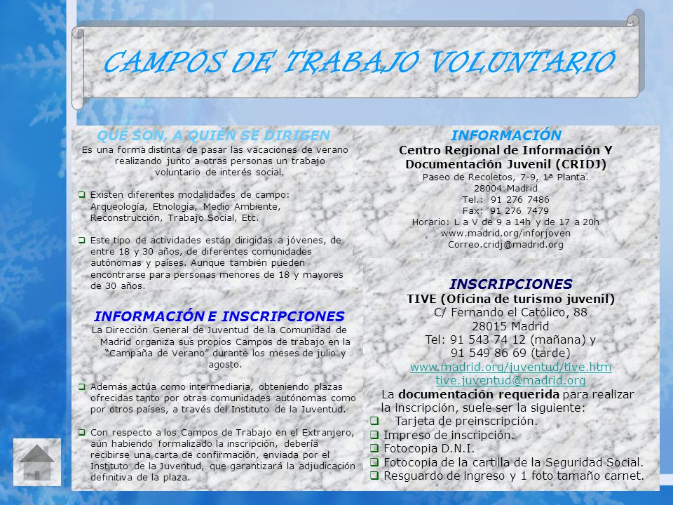 CAMPOS DE TRABAJO VOLUNTARIO