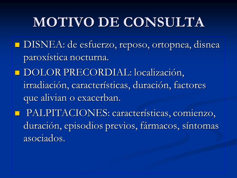 MOTIVO DE CONSULTA DISNEA: de esfuerzo, reposo, ortopnea, disnea paroxística nocturna.