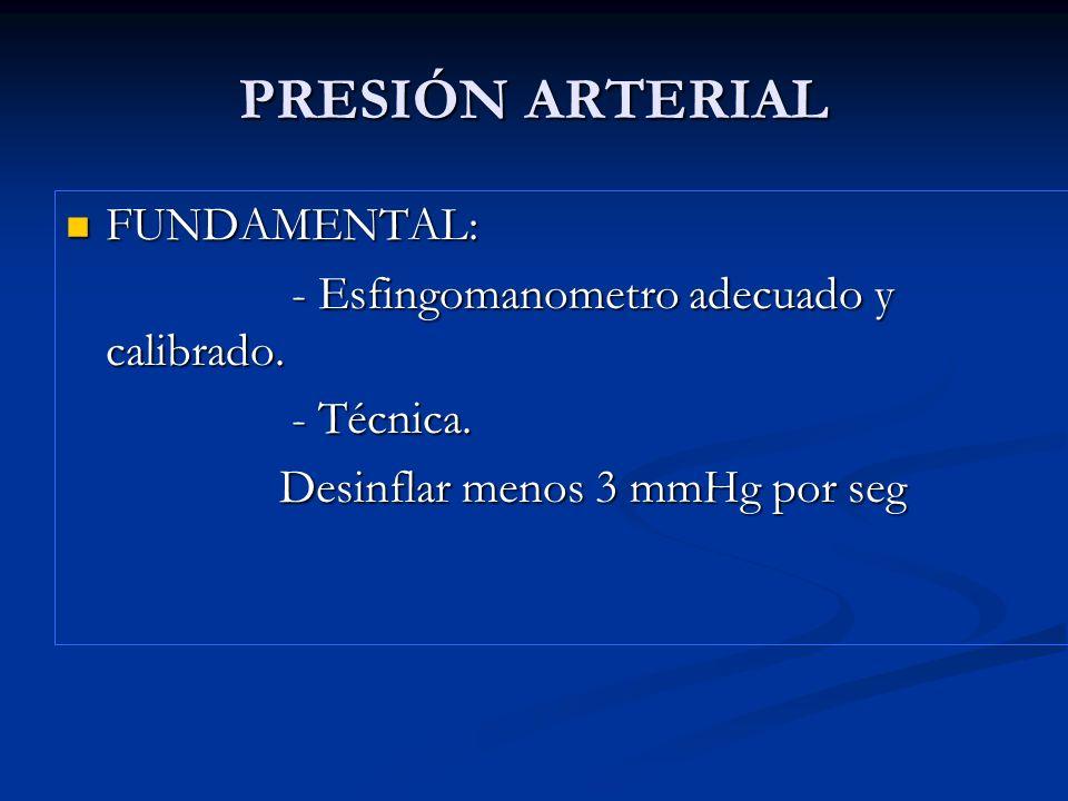 PRESIÓN ARTERIAL FUNDAMENTAL: - Esfingomanometro adecuado y calibrado.