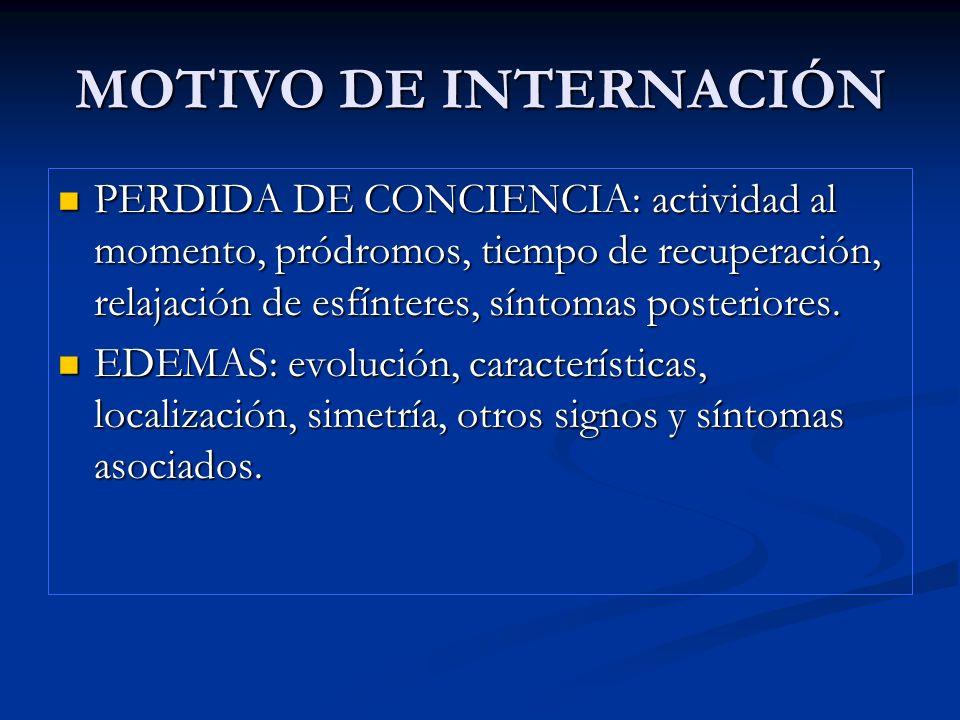 MOTIVO DE INTERNACIÓNPERDIDA DE CONCIENCIA: actividad al momento, pródromos, tiempo de recuperación, relajación de esfínteres, síntomas posteriores.