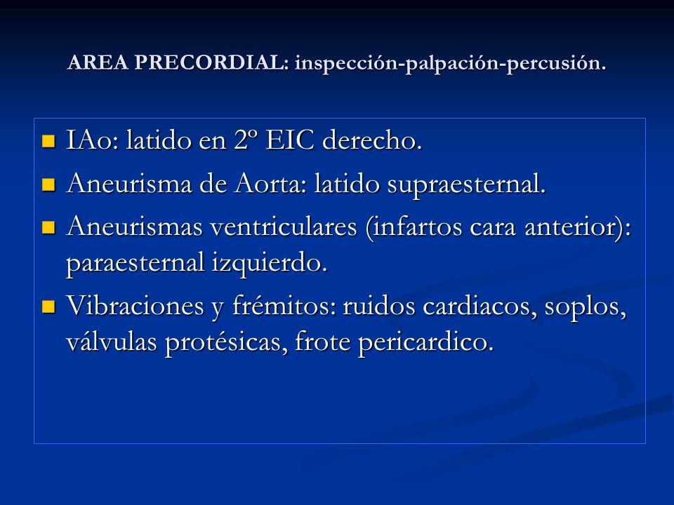 AREA PRECORDIAL: inspección-palpación-percusión.