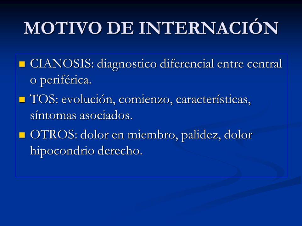 MOTIVO DE INTERNACIÓN CIANOSIS: diagnostico diferencial entre central o periférica. TOS: evolución, comienzo, características, síntomas asociados.