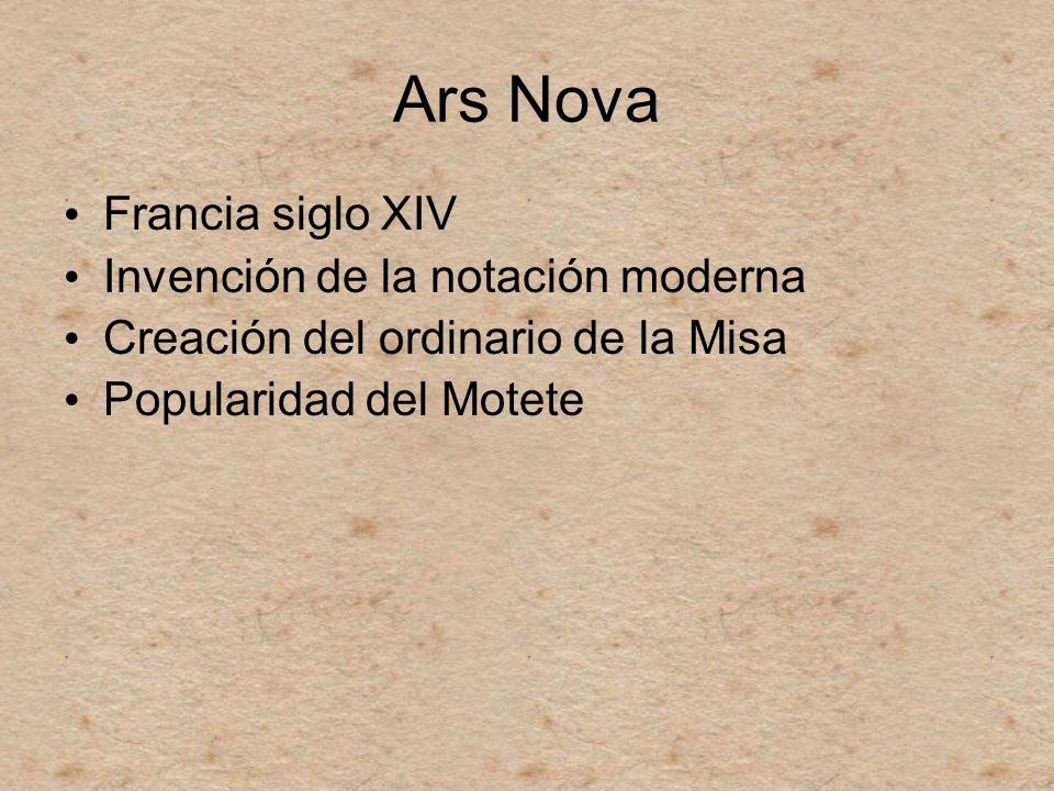 Ars Nova Francia siglo XIV Invención de la notación moderna