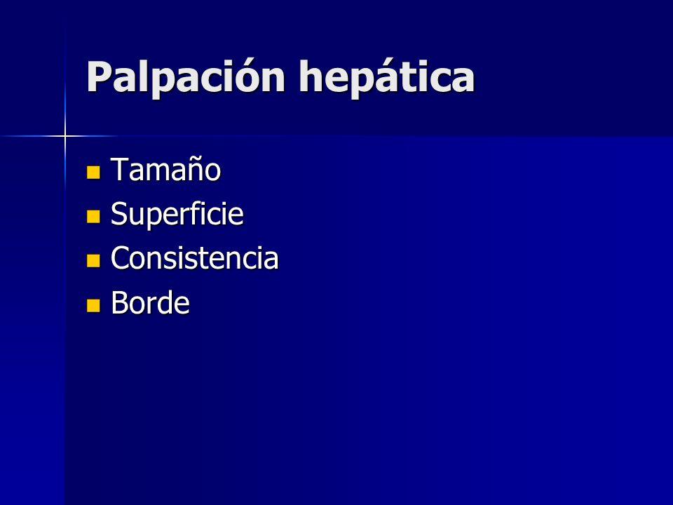Palpación hepática Tamaño Superficie Consistencia Borde
