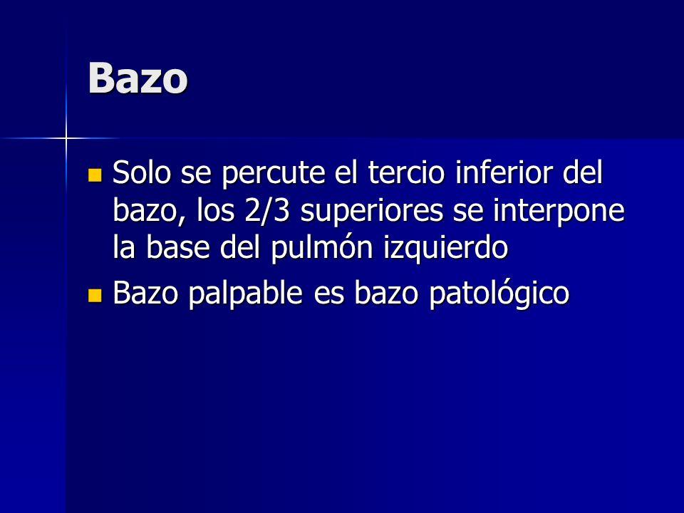 BazoSolo se percute el tercio inferior del bazo, los 2/3 superiores se interpone la base del pulmón izquierdo.