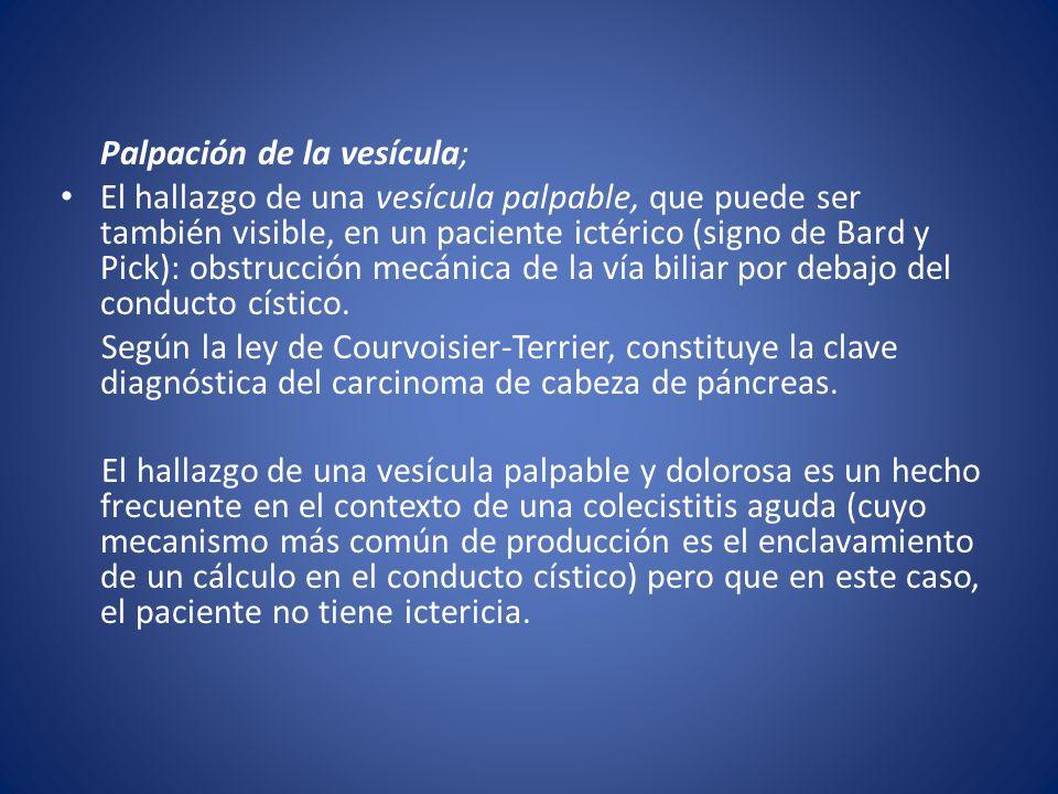 Palpación de la vesícula;