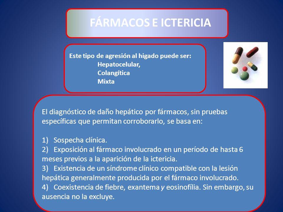 FÁRMACOS E ICTERICIA Este tipo de agresión al higado puede ser: Hepatocelular, Colangítica. Mixta.