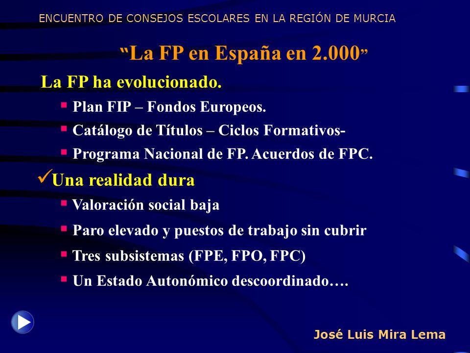 La FP ha evolucionado. Una realidad dura La FP en España en 2.000