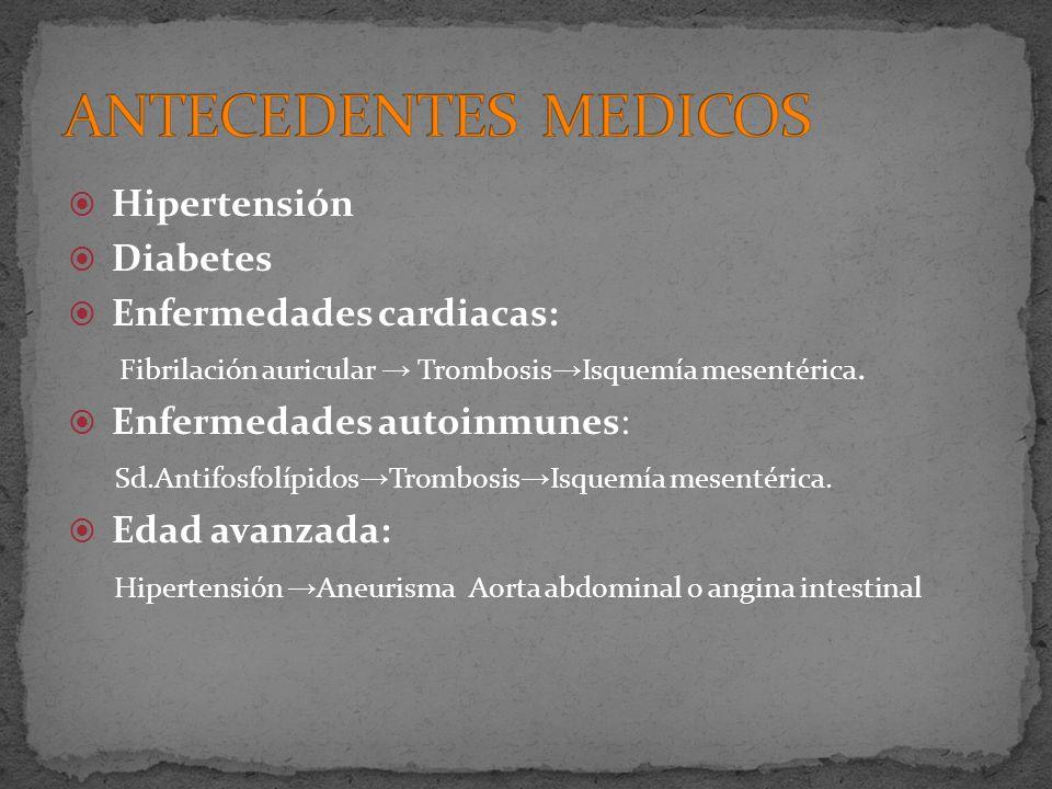 ANTECEDENTES MEDICOS Hipertensión Diabetes Enfermedades cardiacas:
