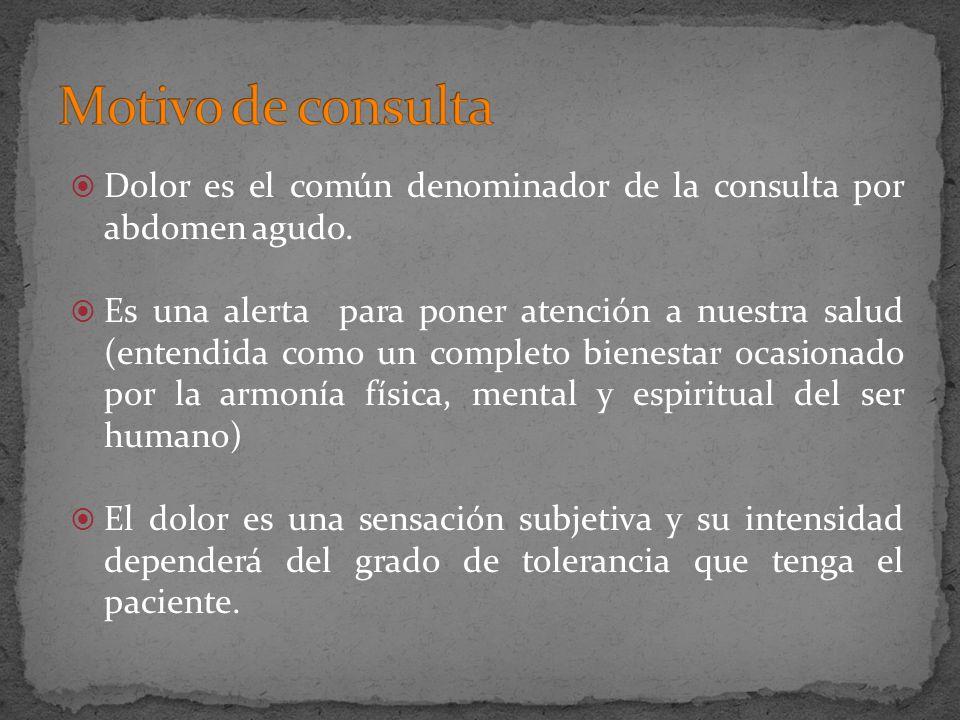 Motivo de consultaDolor es el común denominador de la consulta por abdomen agudo.