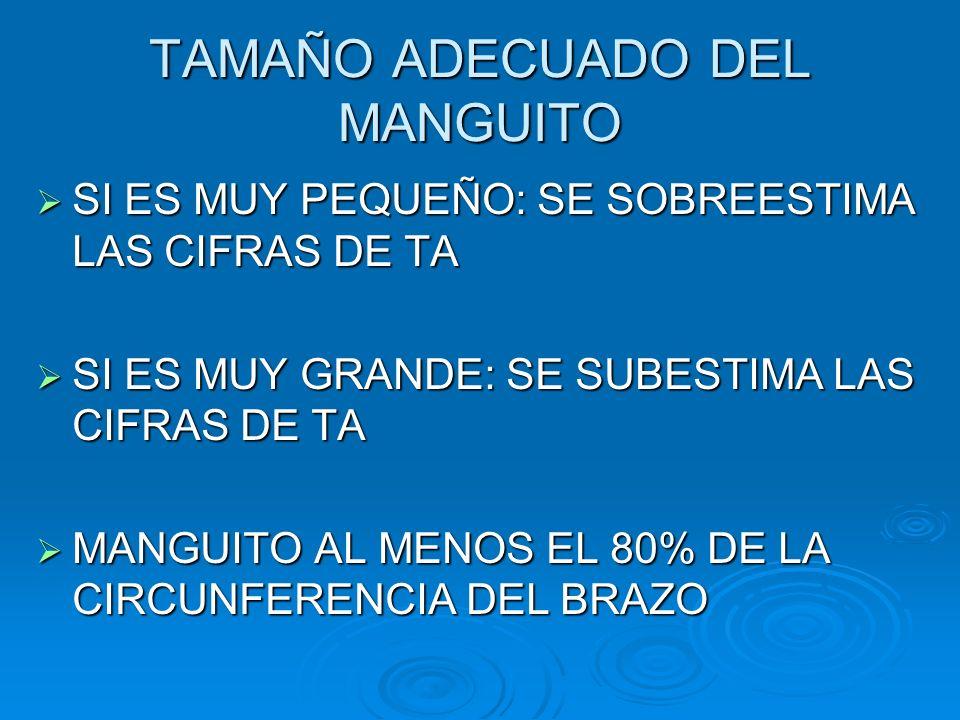 TAMAÑO ADECUADO DEL MANGUITO