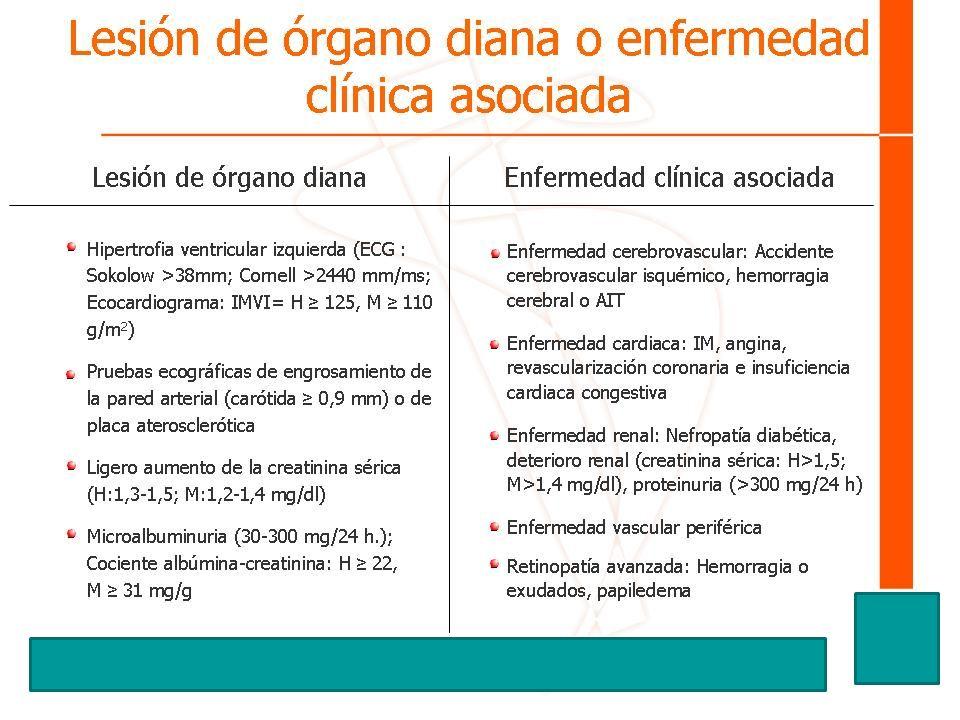Lesión de órgano diana o enfermedad clínica asociada