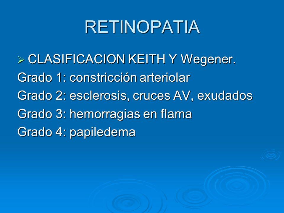 RETINOPATIA CLASIFICACION KEITH Y Wegener.