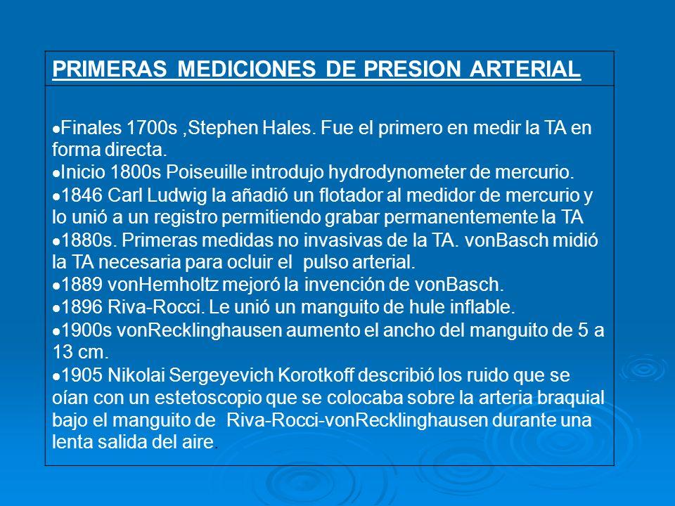 PRIMERAS MEDICIONES DE PRESION ARTERIAL