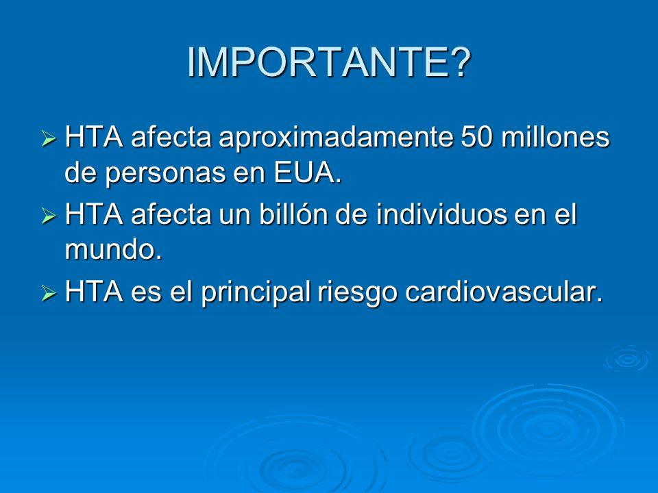 IMPORTANTE HTA afecta aproximadamente 50 millones de personas en EUA.