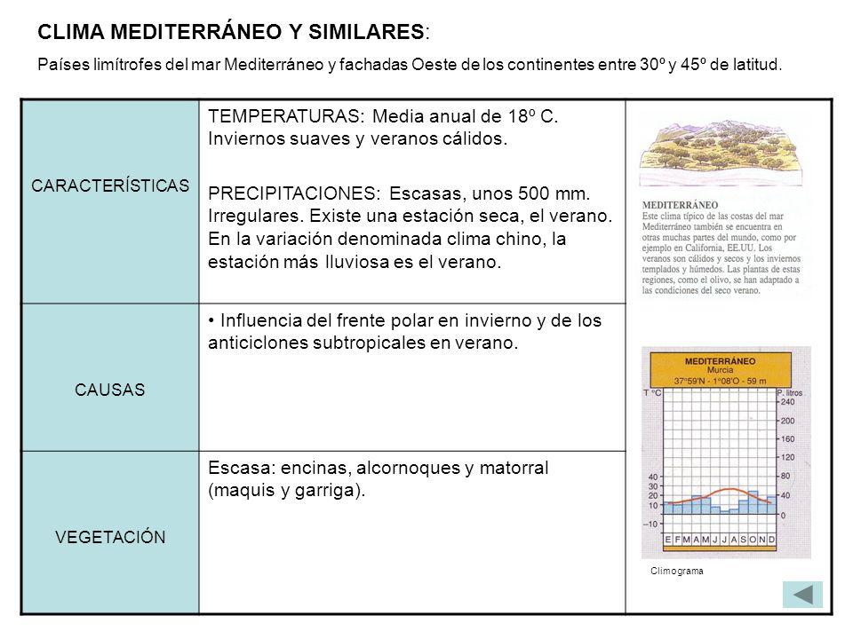 CLIMA MEDITERRÁNEO Y SIMILARES: