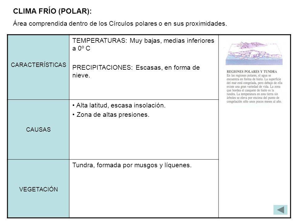 CLIMA FRÍO (POLAR): Área comprendida dentro de los Círculos polares o en sus proximidades. CARACTERÍSTICAS.