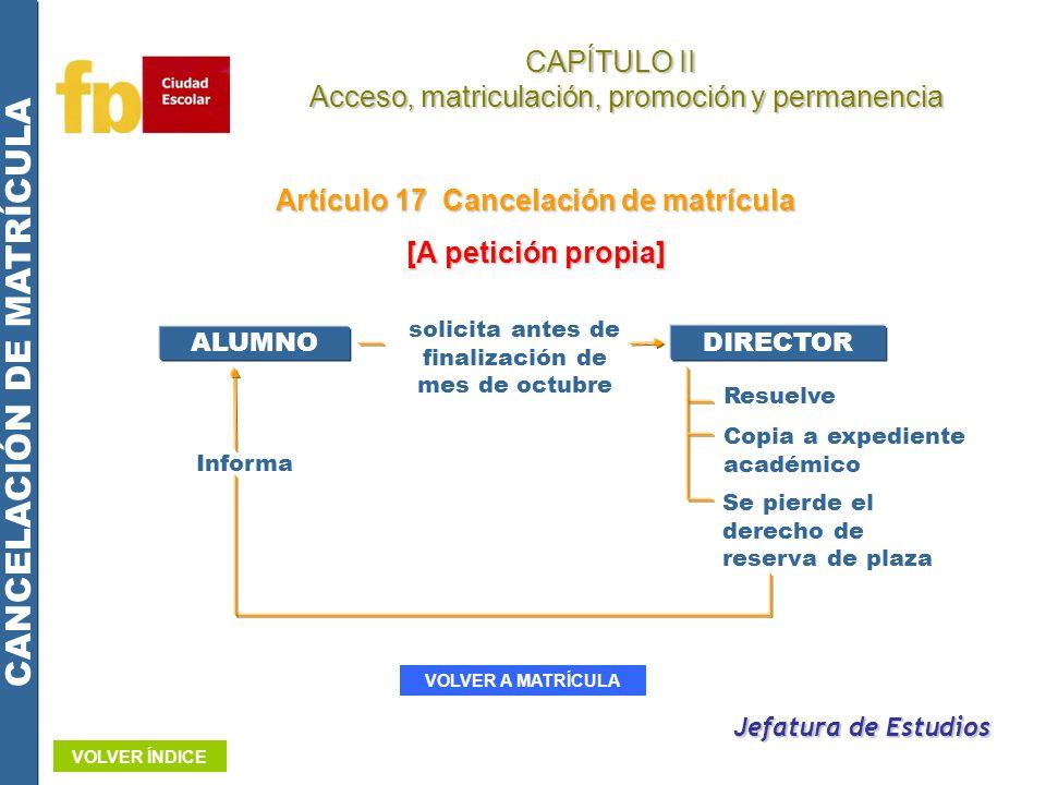 Artículo 17 Cancelación de matrícula