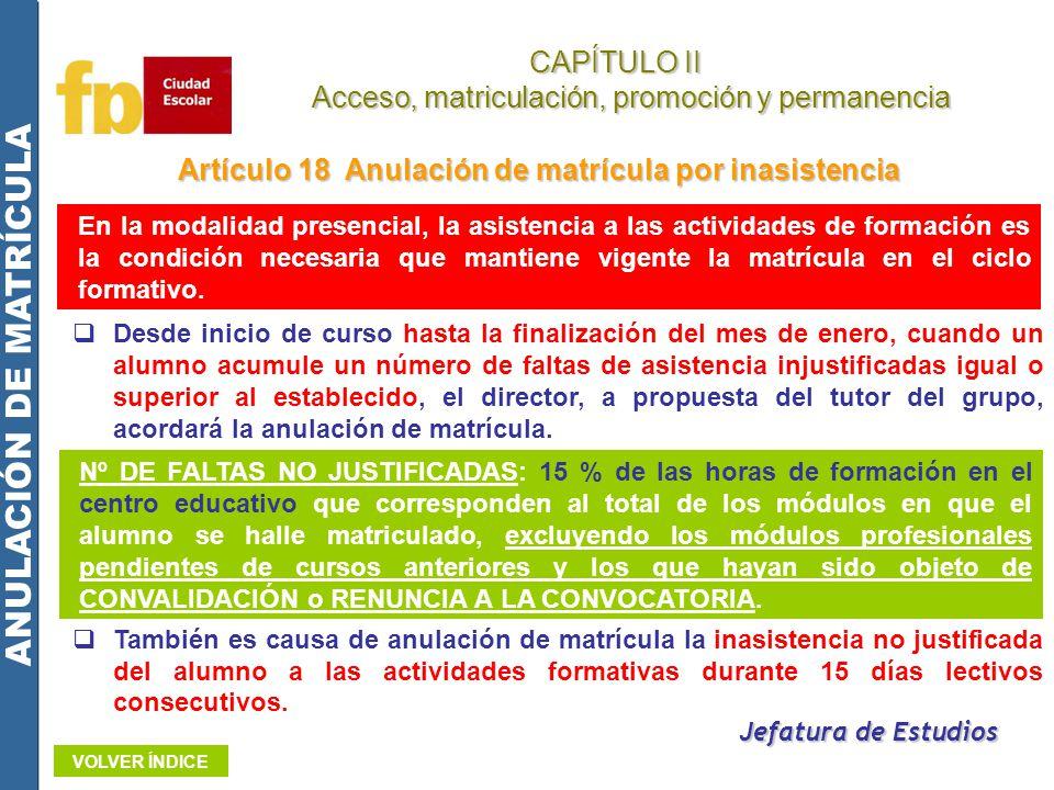 Artículo 18 Anulación de matrícula por inasistencia