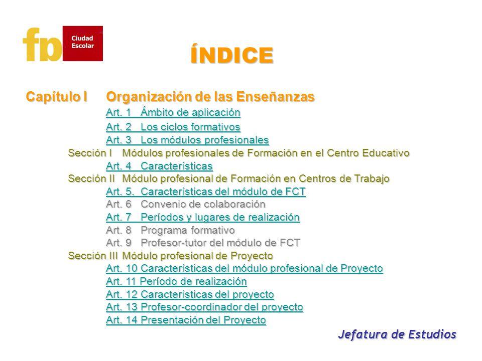 ÍNDICE Capítulo I Organización de las Enseñanzas