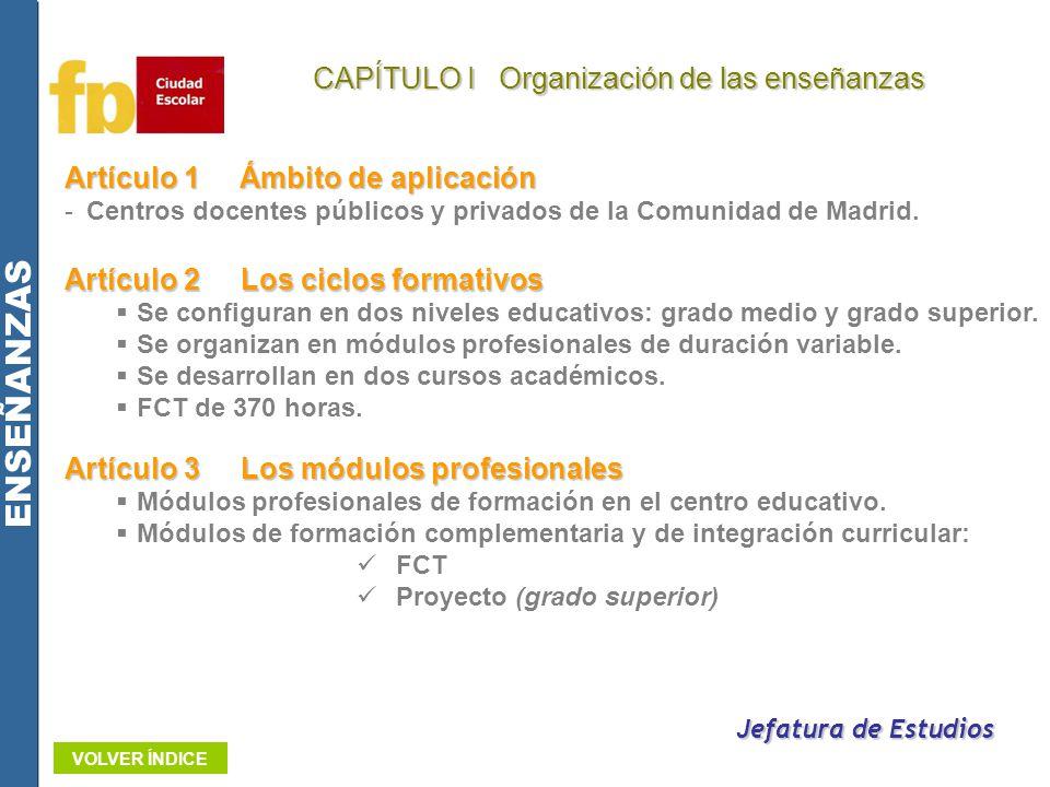 CAPÍTULO I Organización de las enseñanzas