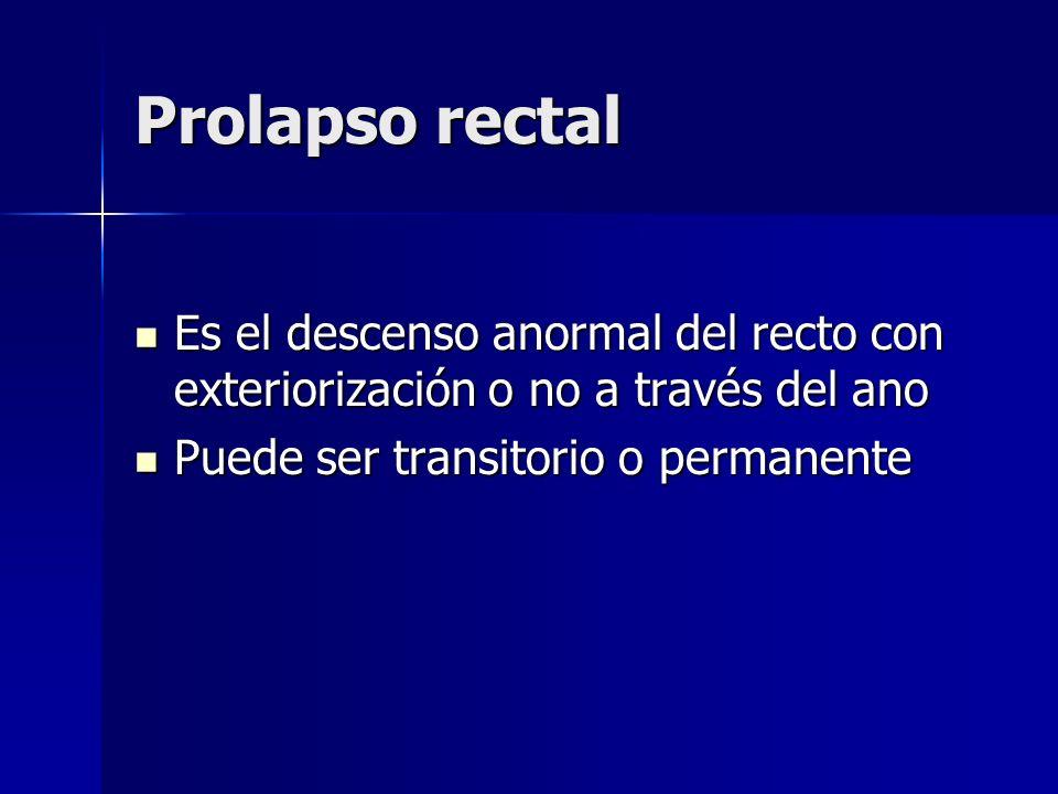 Prolapso rectal Es el descenso anormal del recto con exteriorización o no a través del ano.
