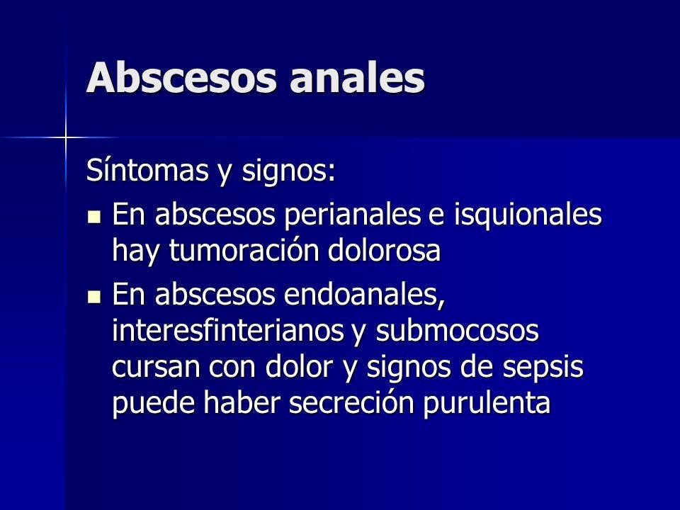 Abscesos anales Síntomas y signos: