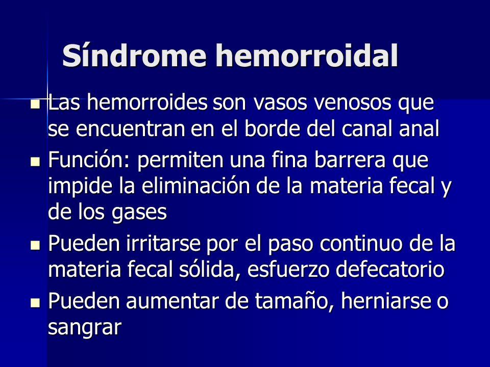 Síndrome hemorroidal Las hemorroides son vasos venosos que se encuentran en el borde del canal anal.