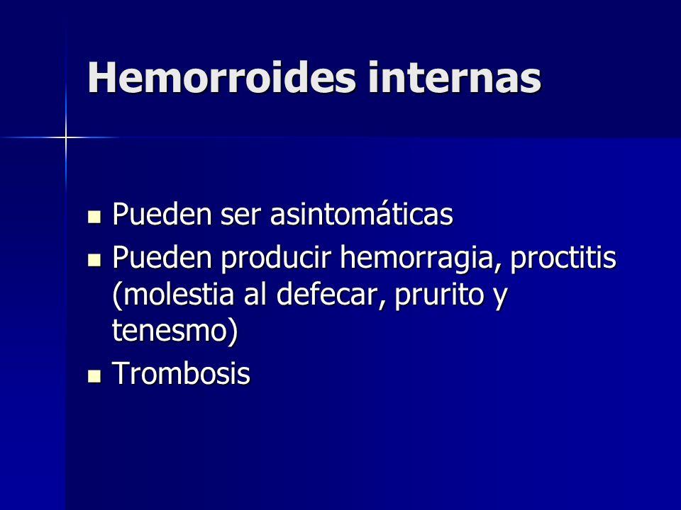 Hemorroides internas Pueden ser asintomáticas