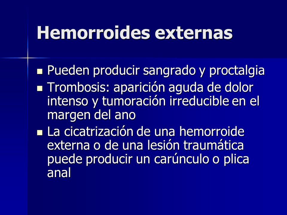 Hemorroides externas Pueden producir sangrado y proctalgia