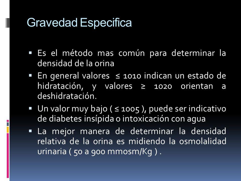 Gravedad Especifica Es el método mas común para determinar la densidad de la orina.