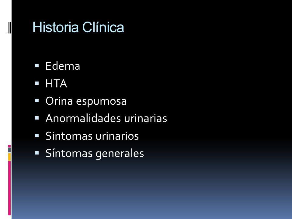 Historia Clínica Edema HTA Orina espumosa Anormalidades urinarias