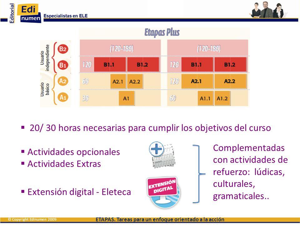 20/ 30 horas necesarias para cumplir los objetivos del curso