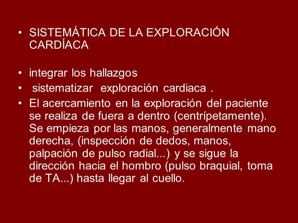 SISTEMÁTICA DE LA EXPLORACIÓN CARDÍACA