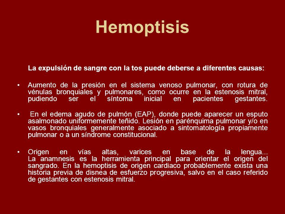 Hemoptisis La expulsión de sangre con la tos puede deberse a diferentes causas: