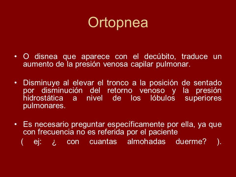 Ortopnea O disnea que aparece con el decúbito, traduce un aumento de la presión venosa capilar pulmonar.