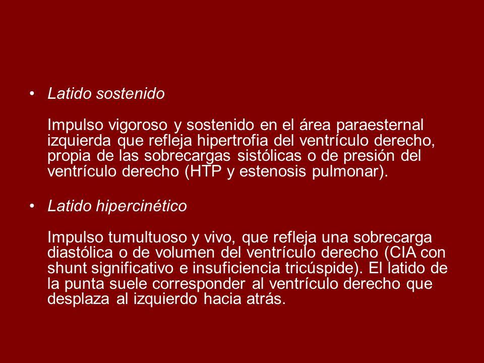 Latido sostenido Impulso vigoroso y sostenido en el área paraesternal izquierda que refleja hipertrofia del ventrículo derecho, propia de las sobrecargas sistólicas o de presión del ventrículo derecho (HTP y estenosis pulmonar).