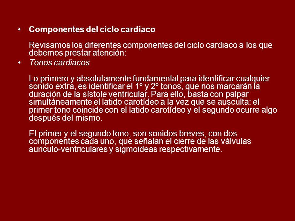 Componentes del ciclo cardiaco Revisamos los diferentes componentes del ciclo cardiaco a los que debemos prestar atención: