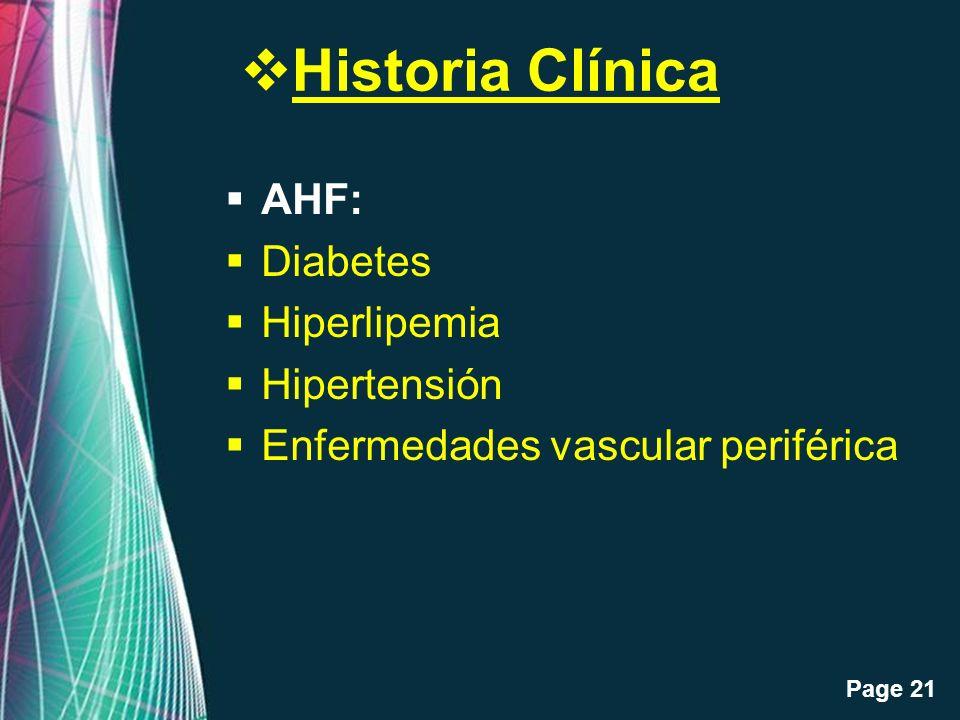 Historia Clínica AHF: Diabetes Hiperlipemia Hipertensión