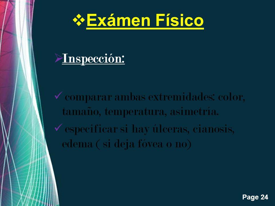 Exámen Físico Inspección: