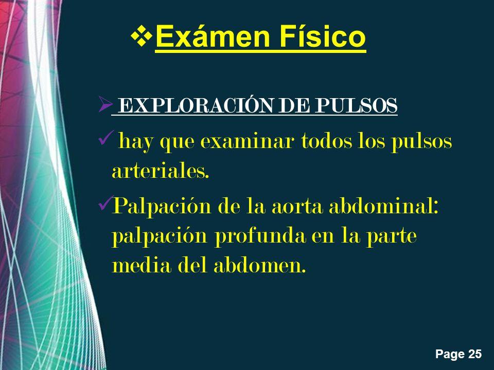 Exámen Físico EXPLORACIÓN DE PULSOS