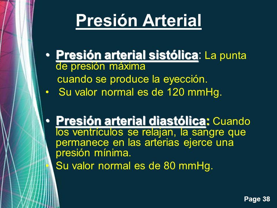 Presión Arterial Presión arterial sistólica: La punta de presión máxima. cuando se produce la eyección.