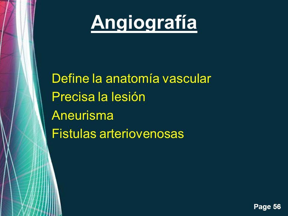 Angiografía Define la anatomía vascular Precisa la lesión Aneurisma Fistulas arteriovenosas