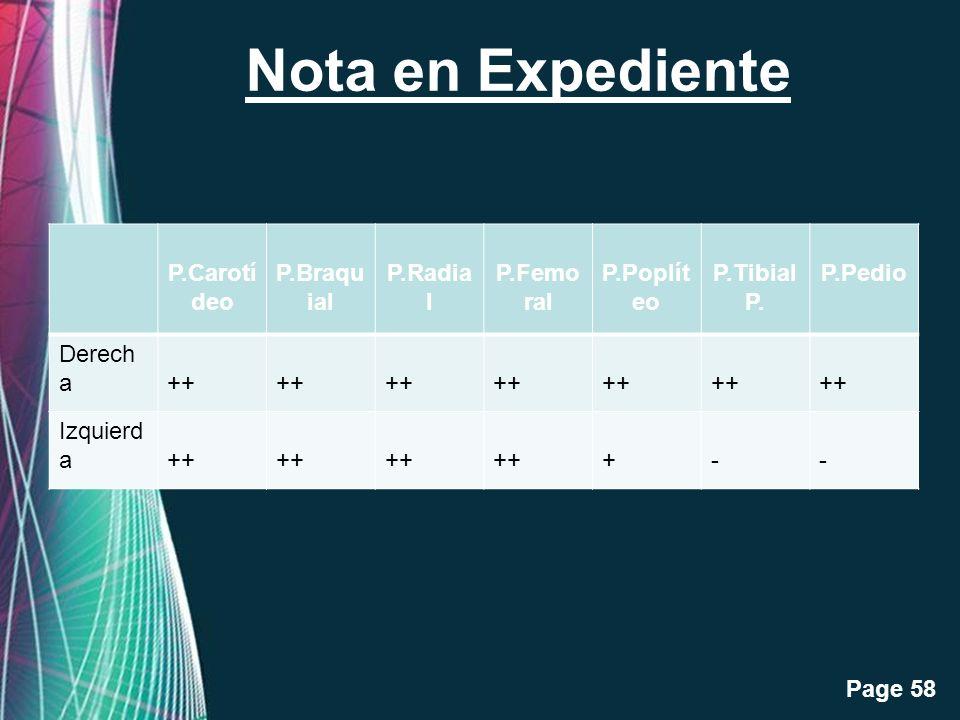 Nota en Expediente P.Carotídeo P.Braquial P.Radial P.Femoral