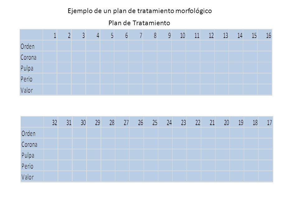 Ejemplo de un plan de tratamiento morfológico
