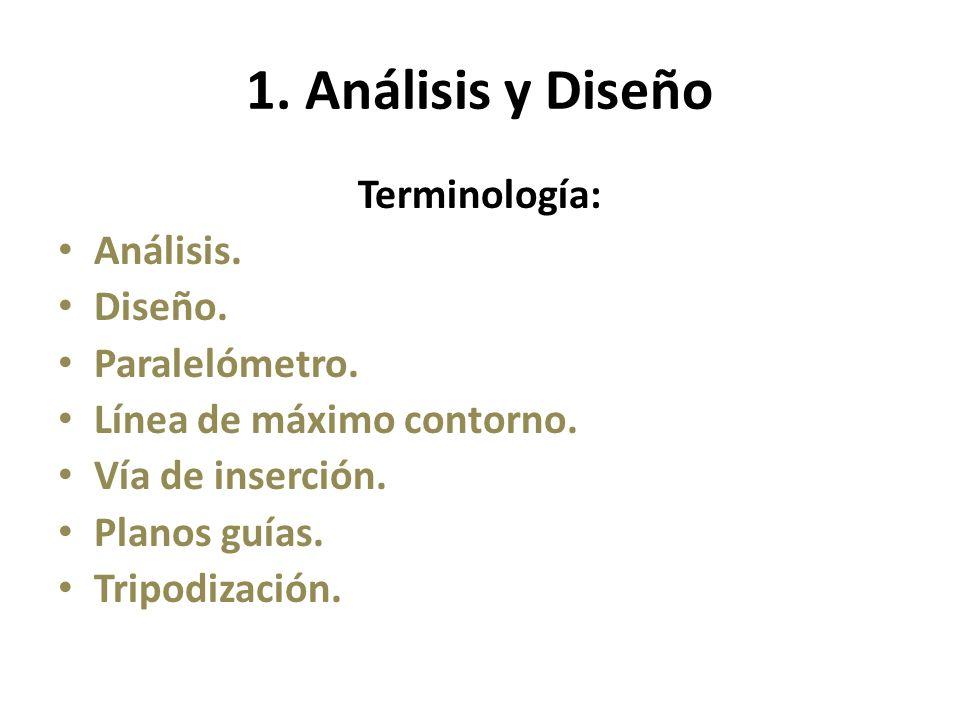 1. Análisis y Diseño Terminología: Análisis. Diseño. Paralelómetro.