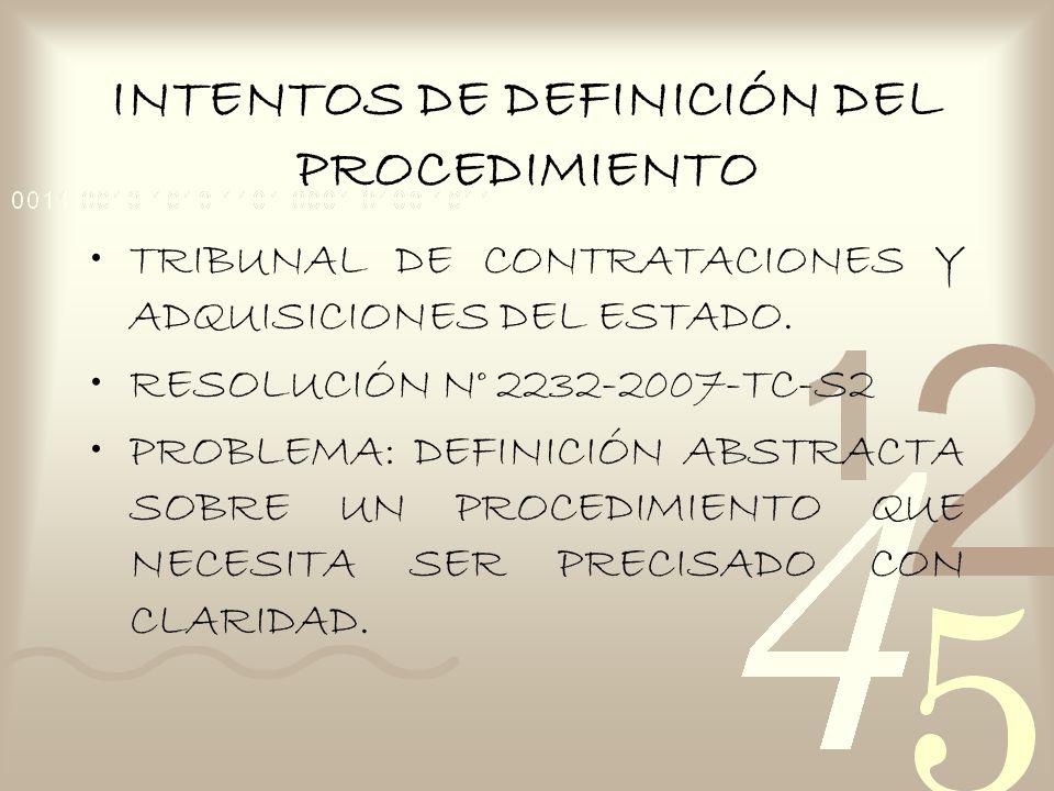 INTENTOS DE DEFINICIÓN DEL PROCEDIMIENTO