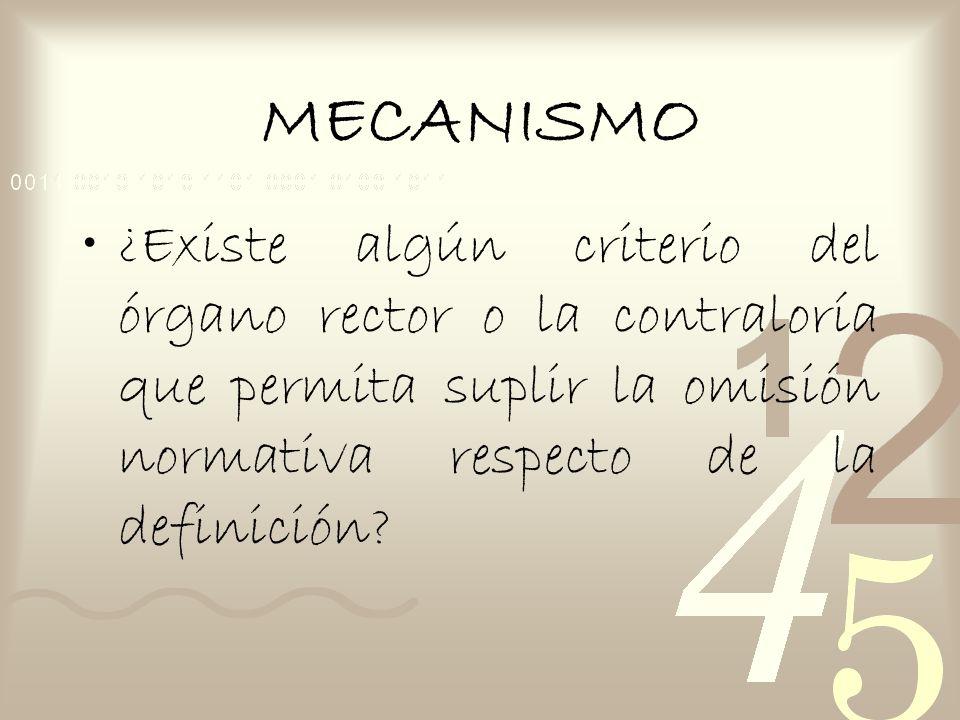 MECANISMO ¿Existe algún criterio del órgano rector o la contraloría que permita suplir la omisión normativa respecto de la definición
