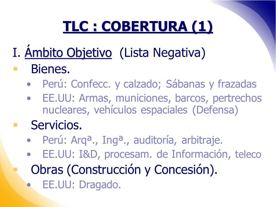 TLC : COBERTURA (1) I. Ámbito Objetivo (Lista Negativa) Bienes.